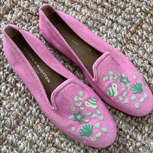 Stubbs & Wootton pink green shell loafers linen